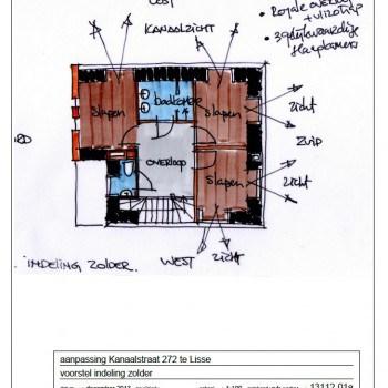 schets plattegrondaanpassing zolderverdieping